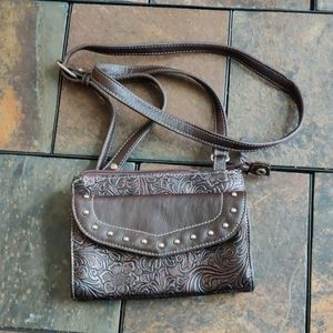 Way West Studded Leather Crossbody Purse Wallet
